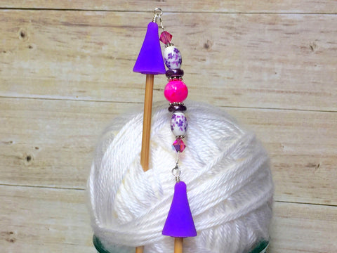 Knitting Needle Point Protector Jewelry- Purple Flowers , stitch holder - Jill's Beaded Knit Bits, Jill's Beaded Knit Bits  - 8