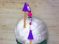 Knitting Needle Point Protector Jewelry- Purple Flowers , stitch holder - Jill's Beaded Knit Bits, Jill's Beaded Knit Bits  - 9