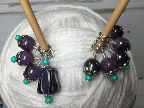 Purple-Frog-Knitting-Stitch-Marker-Set , Stitch Markers - Jill's Beaded Knit Bits, Jill's Beaded Knit Bits  - 4