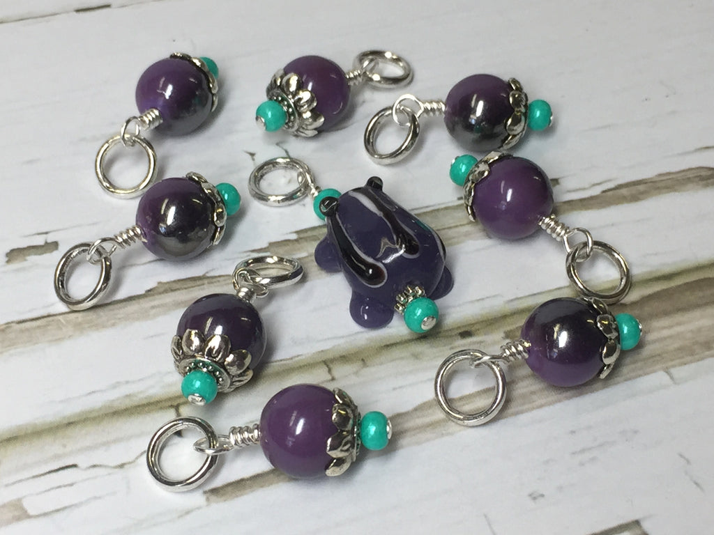 Purple-Frog-Knitting-Stitch-Marker-Set , Stitch Markers - Jill's Beaded Knit Bits, Jill's Beaded Knit Bits  - 1