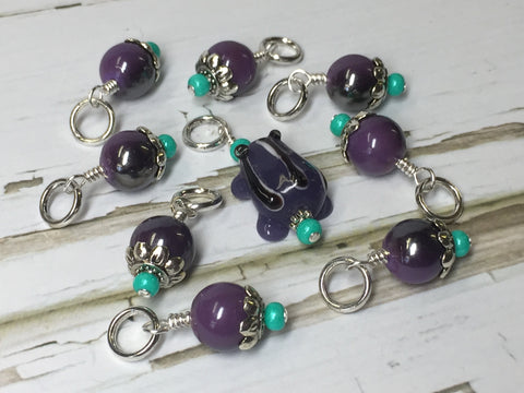 Purple Frog Knitting Stitch Marker Set