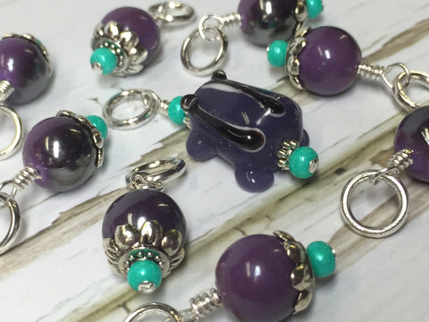 Purple-Frog-Knitting-Stitch-Marker-Set , Stitch Markers - Jill's Beaded Knit Bits, Jill's Beaded Knit Bits  - 3