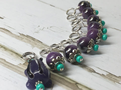 Purple-Frog-Knitting-Stitch-Marker-Set , Stitch Markers - Jill's Beaded Knit Bits, Jill's Beaded Knit Bits  - 2