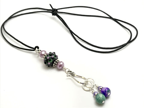 Beaded Portuguese Knitting Necklace- Stitch Marker  & ID Holder