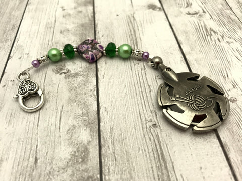 Beaded Clover Yarn Cutter Pendant Lanyard- Purple and Green , Accessories - Jill's Beaded Knit Bits, Jill's Beaded Knit Bits  - 2