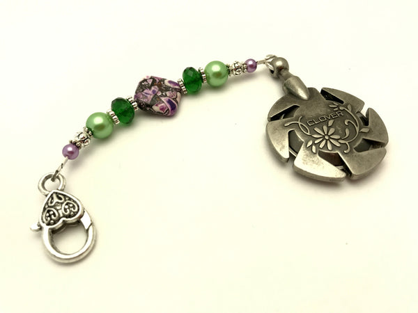Beaded Clover Yarn Cutter Pendant Lanyard- Purple and Green , Accessories - Jill's Beaded Knit Bits, Jill's Beaded Knit Bits  - 1