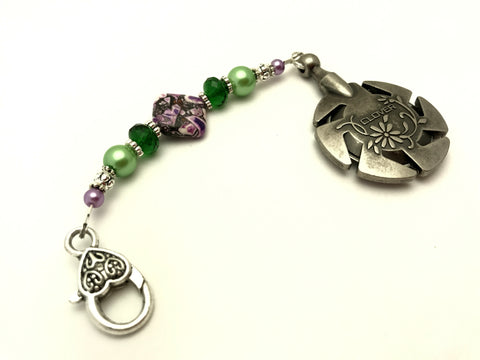 Beaded Clover Yarn Cutter Pendant Lanyard- Purple and Green , Accessories - Jill's Beaded Knit Bits, Jill's Beaded Knit Bits  - 7