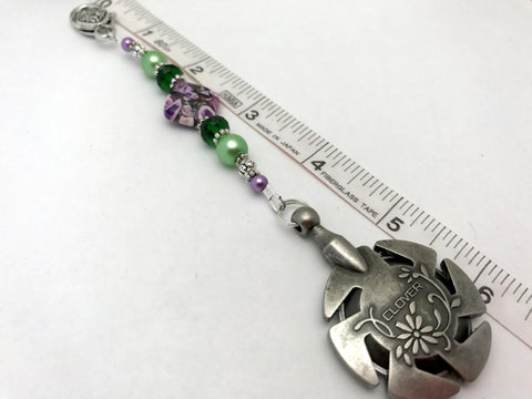 Beaded Clover Yarn Cutter Pendant Lanyard- Purple and Green , Accessories - Jill's Beaded Knit Bits, Jill's Beaded Knit Bits  - 4