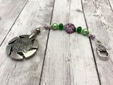 Beaded Clover Yarn Cutter Pendant Lanyard- Purple and Green , Accessories - Jill's Beaded Knit Bits, Jill's Beaded Knit Bits  - 6
