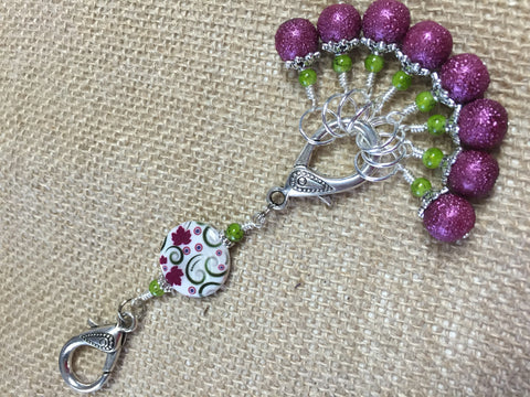 Raspberry Lime Stitch Markers & Flower Knitting Bag Lanyard Holder , Stitch Markers - Jill's Beaded Knit Bits, Jill's Beaded Knit Bits  - 7