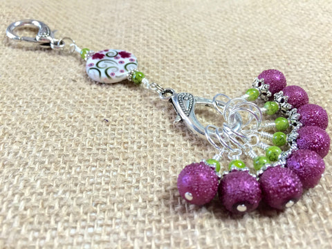 Raspberry Lime Stitch Markers & Flower Knitting Bag Lanyard Holder , Stitch Markers - Jill's Beaded Knit Bits, Jill's Beaded Knit Bits  - 2