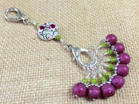 Raspberry Lime Stitch Markers & Flower Knitting Bag Lanyard Holder , Stitch Markers - Jill's Beaded Knit Bits, Jill's Beaded Knit Bits  - 1