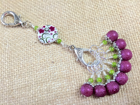 Raspberry Lime Stitch Markers & Flower Knitting Bag Lanyard Holder , Stitch Markers - Jill's Beaded Knit Bits, Jill's Beaded Knit Bits  - 5