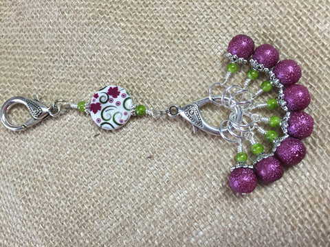 Raspberry Lime Stitch Markers & Flower Knitting Bag Lanyard Holder , Stitch Markers - Jill's Beaded Knit Bits, Jill's Beaded Knit Bits  - 6
