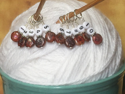 Red Row Counter Stitch Markers , Stitch Markers - Jill's Beaded Knit Bits, Jill's Beaded Knit Bits  - 4