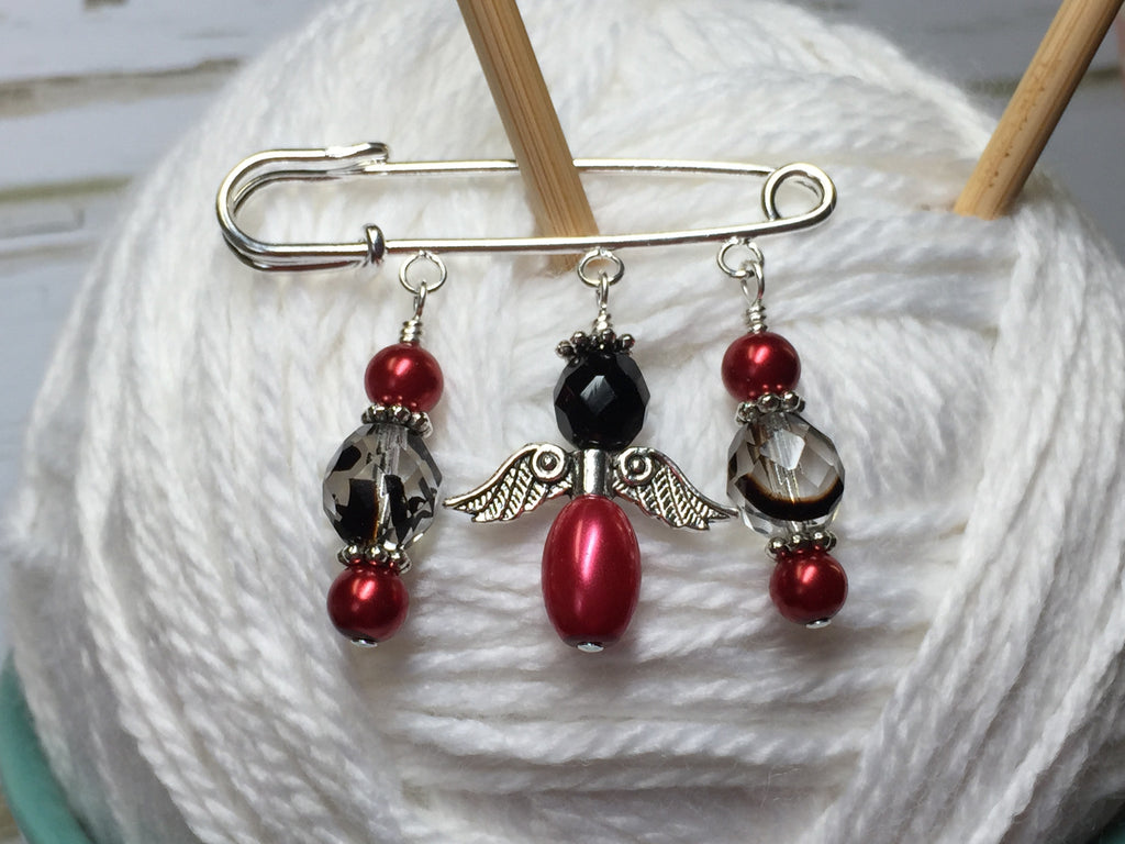 Red Angel Shawl Pin , Jewelry - Jill's Beaded Knit Bits, Jill's Beaded Knit Bits  - 1