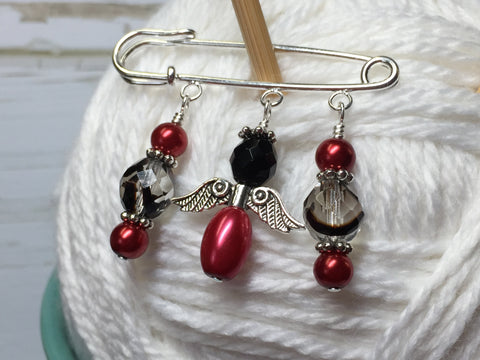 Red Angel Shawl Pin , Jewelry - Jill's Beaded Knit Bits, Jill's Beaded Knit Bits  - 3