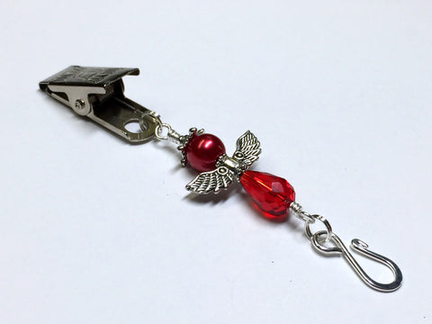 Red Angel Portuguese Knitting Pin- Clip on Badge Pin , Portugese Knitting Pin - Jill's Beaded Knit Bits, Jill's Beaded Knit Bits  - 1