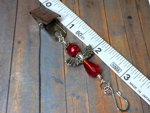 Red Angel Portuguese Knitting Pin- Clip on Badge Pin , Portugese Knitting Pin - Jill's Beaded Knit Bits, Jill's Beaded Knit Bits  - 5