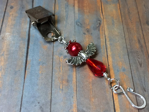 Red Angel Portuguese Knitting Pin- Clip on Badge Pin , Portugese Knitting Pin - Jill's Beaded Knit Bits, Jill's Beaded Knit Bits  - 7