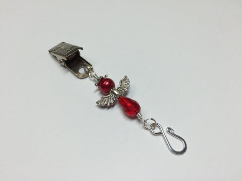 Red Angel Portuguese Knitting Pin- Clip on Badge Pin , Portugese Knitting Pin - Jill's Beaded Knit Bits, Jill's Beaded Knit Bits  - 2