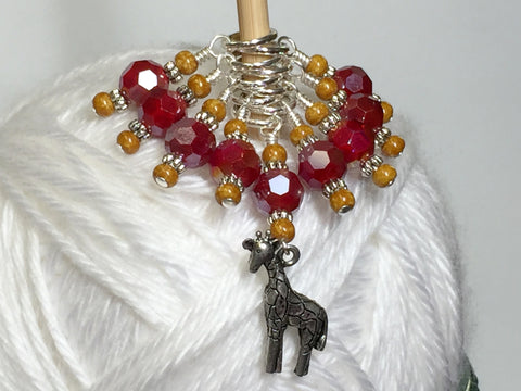 Giraffe Knitting Stitch Marker Set (red) , Stitch Markers - Jill's Beaded Knit Bits, Jill's Beaded Knit Bits  - 1