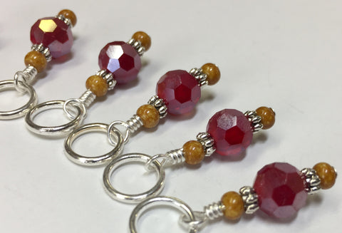 Giraffe Knitting Stitch Marker Set (red) , Stitch Markers - Jill's Beaded Knit Bits, Jill's Beaded Knit Bits  - 3