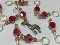 Giraffe Knitting Stitch Marker Set (red) , Stitch Markers - Jill's Beaded Knit Bits, Jill's Beaded Knit Bits  - 2