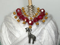 Giraffe Knitting Stitch Marker Set (red) , Stitch Markers - Jill's Beaded Knit Bits, Jill's Beaded Knit Bits  - 7