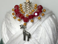 Giraffe Knitting Stitch Marker Set (red) , Stitch Markers - Jill's Beaded Knit Bits, Jill's Beaded Knit Bits  - 5