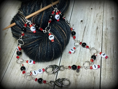 Beaded Row Counter Chain- Red & Black , Stitch Markers - Jill's Beaded Knit Bits, Jill's Beaded Knit Bits  - 1