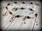 Beaded Row Counter Chain- Red & Black , Stitch Markers - Jill's Beaded Knit Bits, Jill's Beaded Knit Bits  - 6