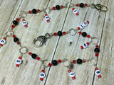 Beaded Row Counter Chain- Red & Black , Stitch Markers - Jill's Beaded Knit Bits, Jill's Beaded Knit Bits  - 5