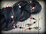 Beaded Row Counter Chain- Red & Black , Stitch Markers - Jill's Beaded Knit Bits, Jill's Beaded Knit Bits  - 4