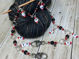 Beaded Row Counter Chain- Red & Black , Stitch Markers - Jill's Beaded Knit Bits, Jill's Beaded Knit Bits  - 3