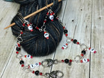 Beaded Row Counter Chain- Red & Black , Stitch Markers - Jill's Beaded Knit Bits, Jill's Beaded Knit Bits  - 2