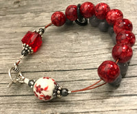 Red Flowers Abacus Knitting Row Counter Bracelet