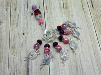Red Yarn Charm Stitch Marker Set with Holder