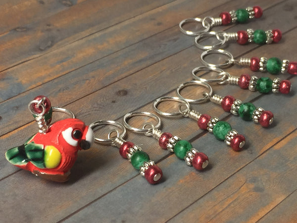 Red Parrot Stitch Marker Set , Stitch Markers - Jill's Beaded Knit Bits, Jill's Beaded Knit Bits  - 1