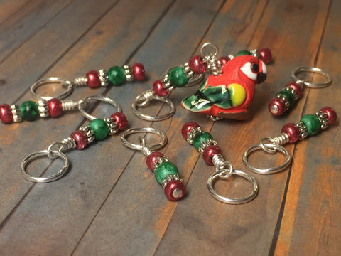 Red Parrot Stitch Marker Set , Stitch Markers - Jill's Beaded Knit Bits, Jill's Beaded Knit Bits  - 5