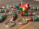 Red Parrot Stitch Marker Set , Stitch Markers - Jill's Beaded Knit Bits, Jill's Beaded Knit Bits  - 2