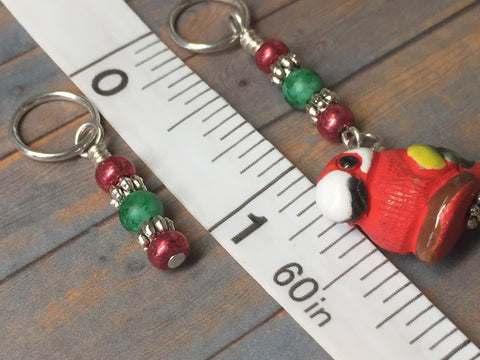 Red Parrot Stitch Marker Set , Stitch Markers - Jill's Beaded Knit Bits, Jill's Beaded Knit Bits  - 3