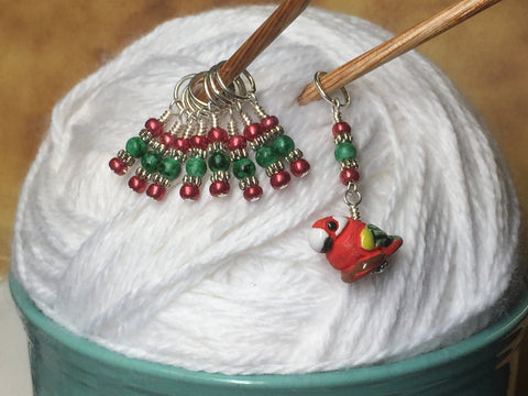 Red Parrot Stitch Marker Set , Stitch Markers - Jill's Beaded Knit Bits, Jill's Beaded Knit Bits  - 4