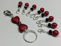 Red Heart Project Bag Lanyard & Stitch Markers , Stitch Markers - Jill's Beaded Knit Bits, Jill's Beaded Knit Bits  - 2