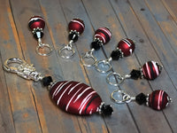 Red Wine Stripes Stitch Marker Holder Set , Stitch Markers - Jill's Beaded Knit Bits, Jill's Beaded Knit Bits  - 1