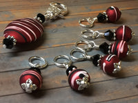Red Wine Stripes Stitch Marker Holder Set , Stitch Markers - Jill's Beaded Knit Bits, Jill's Beaded Knit Bits  - 5