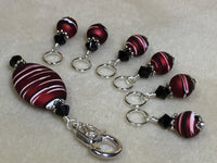 Red Wine Stripes Stitch Marker Holder Set , Stitch Markers - Jill's Beaded Knit Bits, Jill's Beaded Knit Bits  - 4
