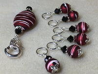 Red Wine Stripes Stitch Marker Holder Set , Stitch Markers - Jill's Beaded Knit Bits, Jill's Beaded Knit Bits  - 6