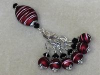 Red Wine Stripes Stitch Marker Holder Set , Stitch Markers - Jill's Beaded Knit Bits, Jill's Beaded Knit Bits  - 7
