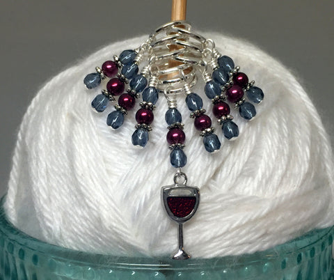 Red Wine Glass Stitch Marker Set , Stitch Markers - Jill's Beaded Knit Bits, Jill's Beaded Knit Bits  - 9